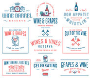 Distintivi del vino ed insieme colorato D delle icone Fotografia Stock Libera da Diritti
