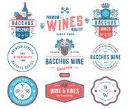 Distintivi del vino ed insieme colorato A delle icone Immagini Stock Libere da Diritti