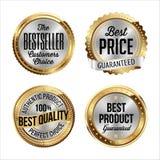 Distintivi dell'argento e dell'oro Un insieme di quattro Bestseller, migliore prezzo, migliore qualità, migliore prodotto Immagine Stock