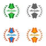 Distintivi della foresta con aria fresca illustrazione di stock