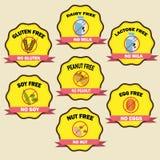 Distintivi di allergia alimentare illustrazione di stock