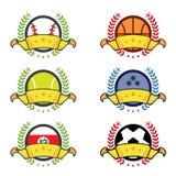 Distintivi di conquista della varia icona di sport Fotografia Stock