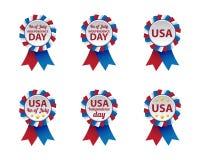 Distintivi di festa dell'indipendenza Immagini Stock Libere da Diritti