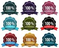 9 distintivi di garanzia soddisfatti o rimborsati Immagini Stock Libere da Diritti