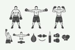 Distintivi di logo di arti marziali e di pugilato, etichette ed elementi di progettazione illustrazione di stock