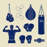 Distintivi di logo di arti marziali e di pugilato, etichette ed elementi di progettazione royalty illustrazione gratis