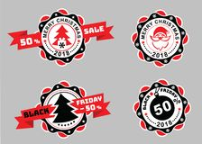 Distintivi di Natale e distintivi di Black Friday con il nastro su fondo grigio Emblemi di vendita Ritratto di Santa sul distinti Royalty Illustrazione gratis