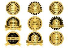 Distintivi di promozione dell'oro Immagini Stock