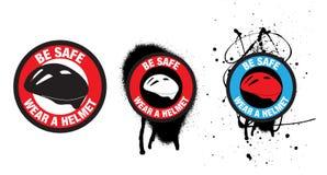 Distintivi di sicurezza o autoadesivi o simboli per sicurezza del casco della bici illustrazione vettoriale