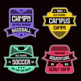 Distintivi di sport Progettazione grafica per la maglietta Immagini Stock