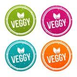 Distintivi di Veggy nei colori differenti Fotografia Stock