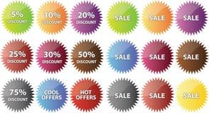 Distintivi di vendita Fotografia Stock