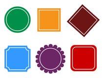 Distintivi di vettore Insieme dei telai d'annata in blu viola arancio e verde marrone-rosso Immagine Stock Libera da Diritti