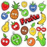 Distintivi divertenti degli emoticon di frutti, toppe, autoadesivi Fotografia Stock Libera da Diritti