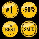 Distintivi dorati di vendita Fotografia Stock Libera da Diritti