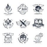 Distintivi e logo di servizio dell'automobile illustrazione di stock