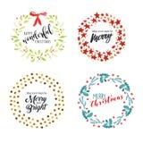 Distintivi ed elementi piani di progettazione del nuovo anno e di Natale illustrazione di stock