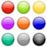 Distintivi ed emblemi lucidi di vettore Fotografie Stock