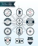 Distintivi ed etichette del mare Immagine Stock