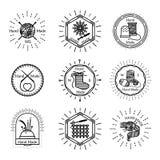 Distintivi fatti a mano d'annata e logo Fotografia Stock Libera da Diritti