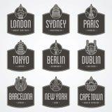 Distintivi internazionali della città Fotografia Stock