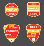 Distintivi rossi del prodotto illustrazione vettoriale