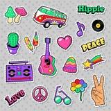 Distintivi, toppe, autoadesivi con Van Mushroom Guitar e piuma di hippy di modo royalty illustrazione gratis