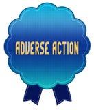 Distintivo AVVERSO del nastro di AZIONE del blu royalty illustrazione gratis