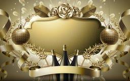 Distintivo in bianco di cuoio dorato Fotografia Stock
