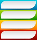 Distintivo, bottone, insieme dell'insegna nel colore luminoso 4 con leggero effetto 3d illustrazione di stock