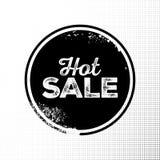 Distintivo caldo del nero di vendita con struttura di lerciume su fondo di semitono Illustrazione Vettoriale