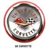 Distintivo classico 1958 del cappuccio di Chevrolet Corvette Fotografia Stock Libera da Diritti