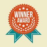 Distintivo d'annata classico del premio del vincitore Fotografie Stock Libere da Diritti