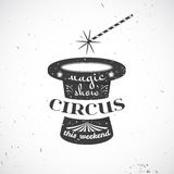 Distintivo d'annata del circo, illustrazione di vettore Fotografia Stock