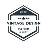 Distintivo d'annata Logo Design Template Vector Symbol dei pantaloni a vita bassa di esagono Fotografia Stock
