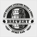 Distintivo del barilotto di birra di vettore su fondo bianco illustrazione di stock
