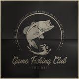 Distintivo del club di pesca del gioco illustrazione di stock