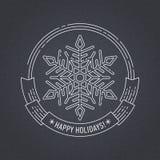 Distintivo del nuovo anno e di Natale con il fiocco di neve Immagine Stock