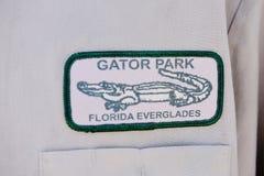 Distintivo del personale dei terreni paludosi del parco dell'alligatore dello stato di Florida Immagine Stock