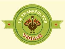 Distintivo del vegano di ringraziamento Fotografie Stock Libere da Diritti