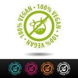100% distintivo del vegano, logo, icona Illustrazione piana di vettore su fondo bianco Può essere la società usata di affari Fotografia Stock