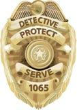 Distintivo dell'agente investigativo con il percorso di residuo della potatura meccanica Fotografie Stock Libere da Diritti
