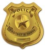 Distintivo dell'ufficiale di polizia dell'oro Fotografia Stock
