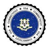 Distintivo della bandiera di Connecticut Fotografia Stock Libera da Diritti
