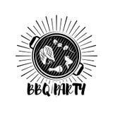 Distintivo della griglia dell'insegna del partito del BBQ Illustrazione di vettore isolata su bianco Fotografia Stock Libera da Diritti