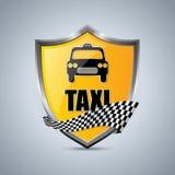 Distintivo dello schermo del taxi con il nastro a quadretti Immagini Stock