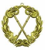 Distintivo di chiave dorata Immagini Stock Libere da Diritti