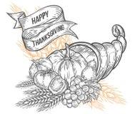 Distintivo di festival della cornucopia di autunno di ringraziamento Incisione d'annata monocromatica Immagini Stock