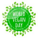 Distintivo di giorno del vegano del mondo, emblema, autoadesivo, aletta di filatoio Immagini Stock Libere da Diritti