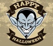 Distintivo di Halloween della testa di Dracula royalty illustrazione gratis